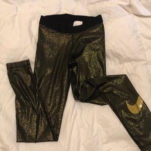 GOLD GLITTER Nike Leggings NWT